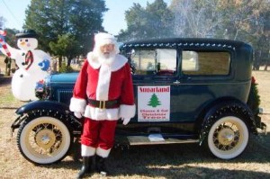santa and old car